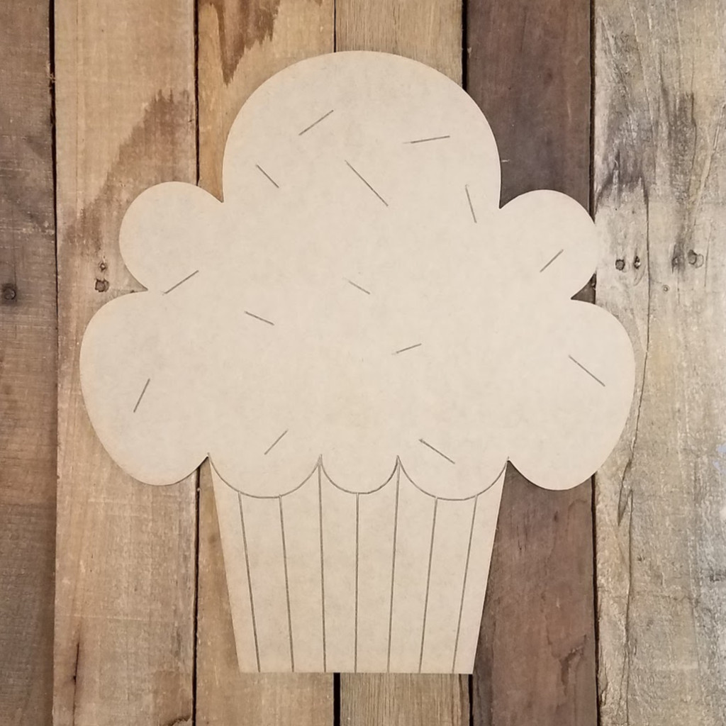 Cupcake With Sprinkles, Unfinished  Paint by Line Wood Shape