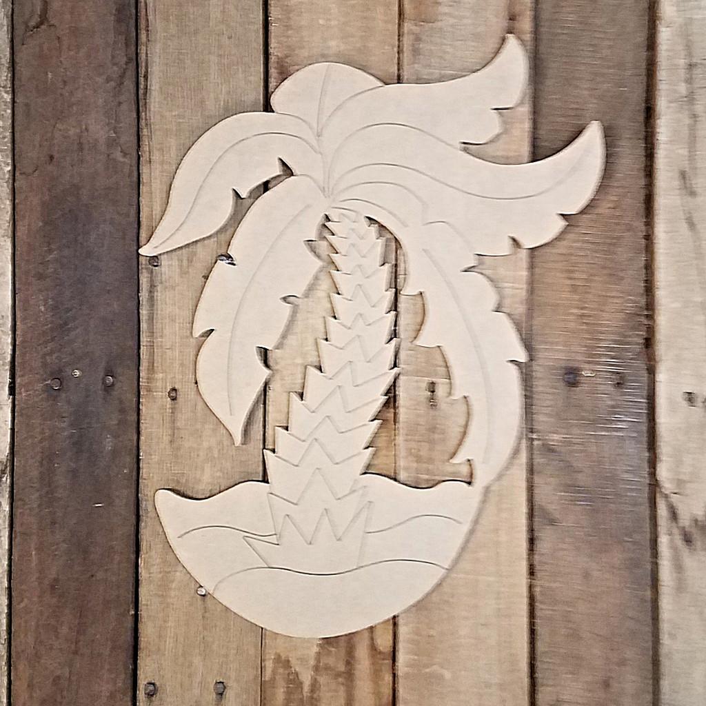 Palm Tree on Beach Cutout Tropical Wood Shape, Paint by Line