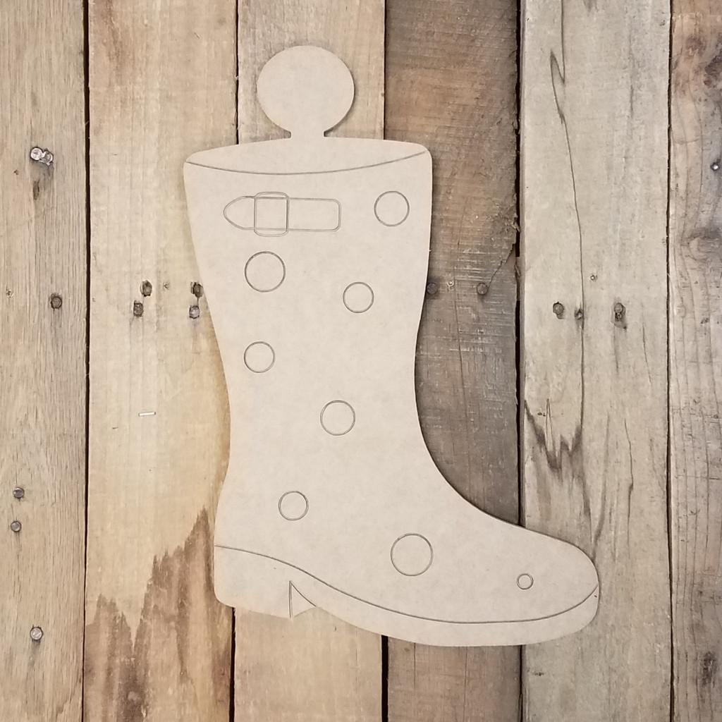 Rain Boot Attachment Set Wood Cutout, Unfinished Shape, Paint by Line Kit