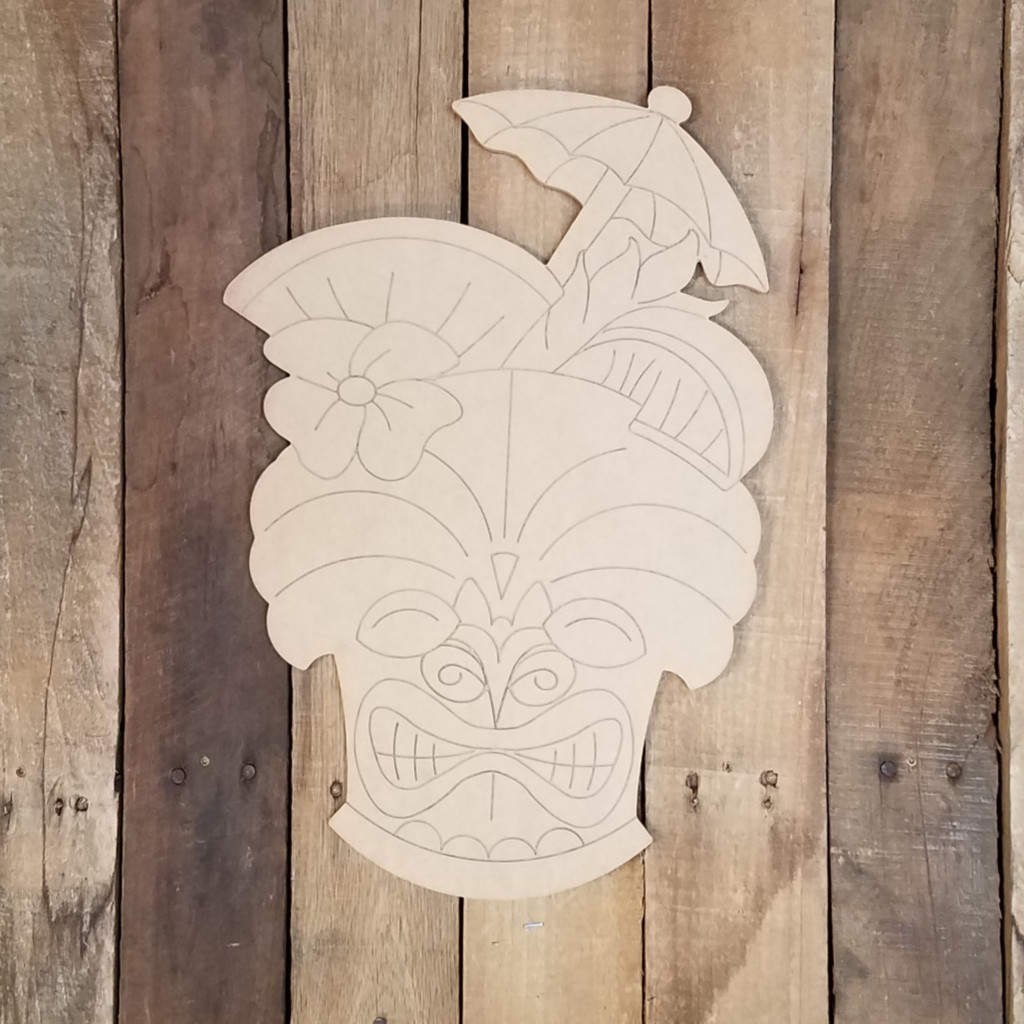 TIki Carving Tropical Drink With Umbrella Wood Shape, Paint by Line