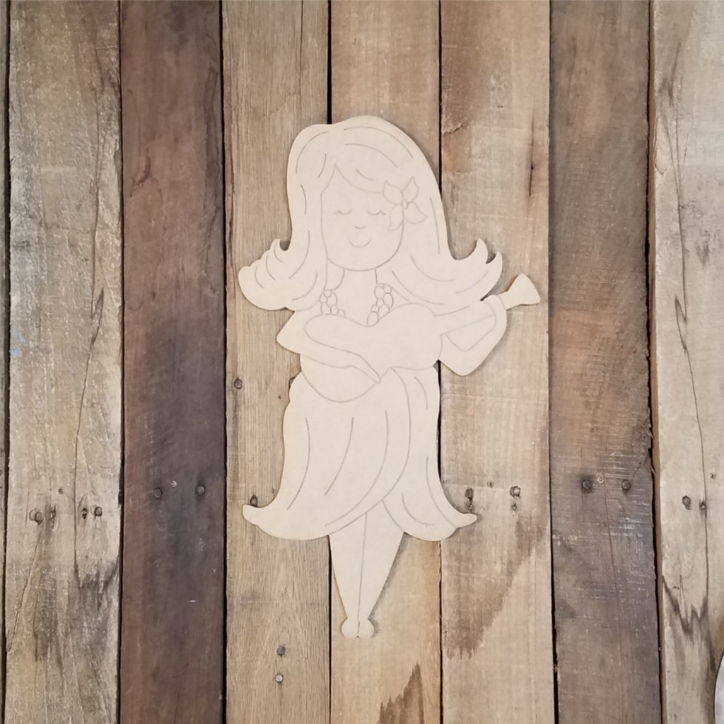 Girl with Ukulele Wood Craft Shape, Paint by Line