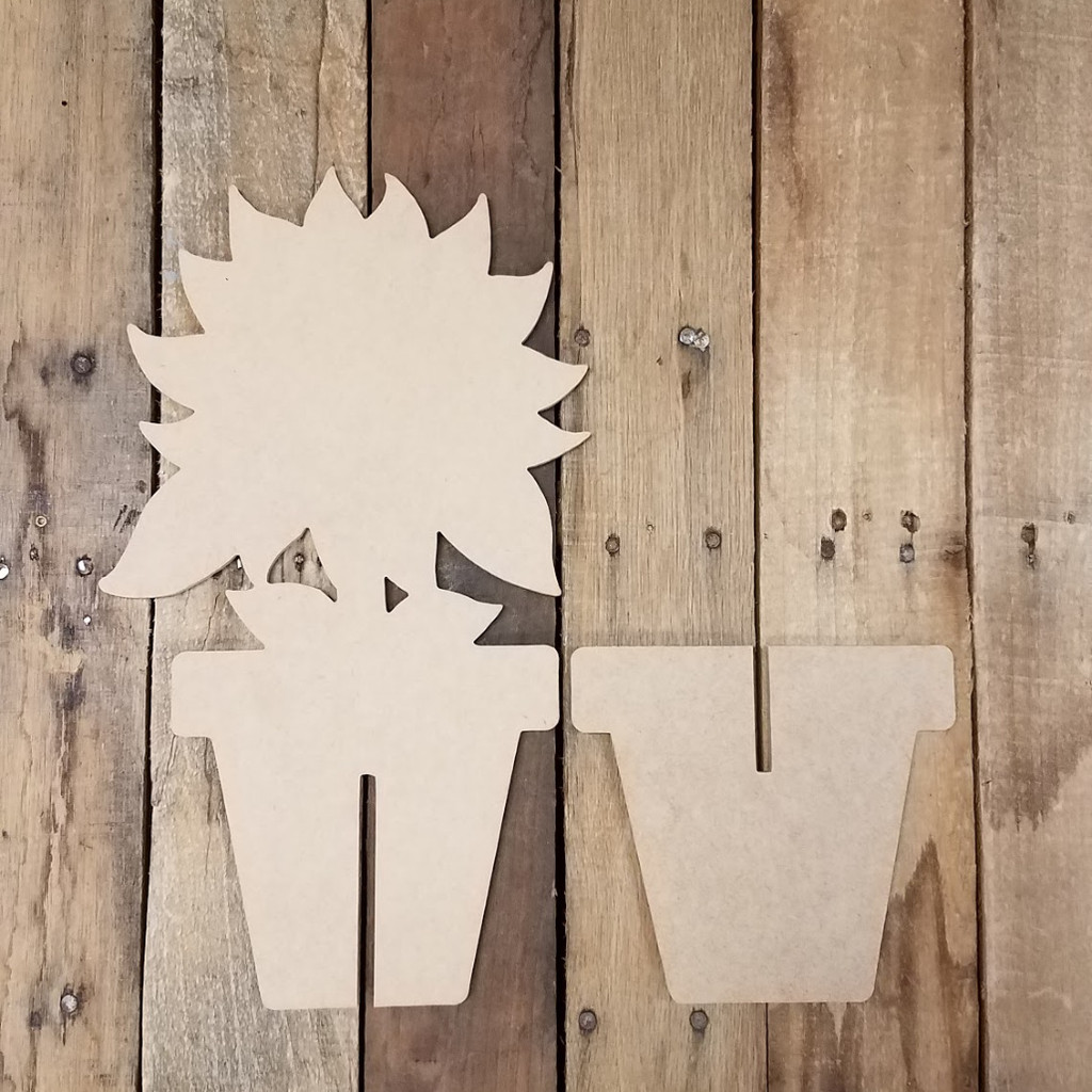 Free Standing Sunflower In Flower Pot, Unfinished Wood Cutout