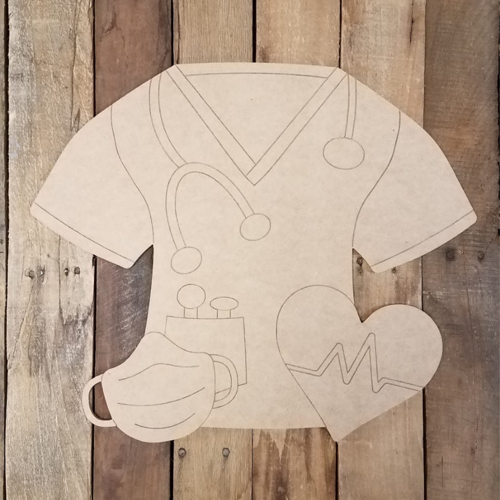 Scrub Shirt and Gear, Unfinished Craft, Paint by Line