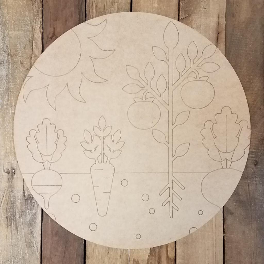 Garden Cross Section Circle, Wood Art Craft Shape Paint by Line