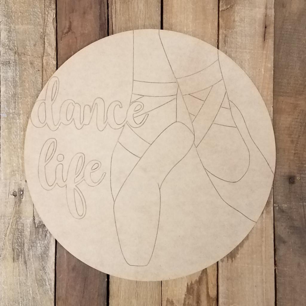 Dance Life Ballet Feet Circle Craft Shape Paint by Line