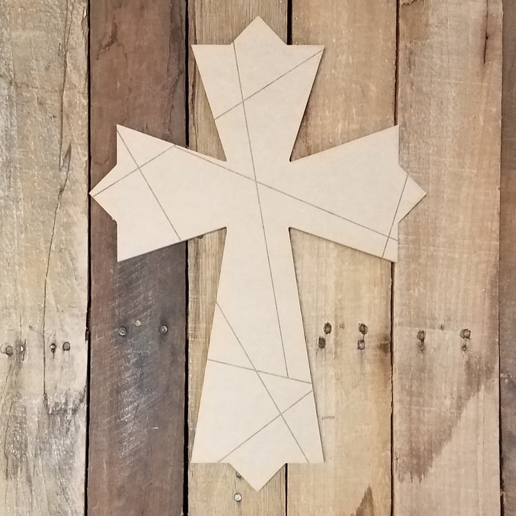 Mosaic Cross 47 Stained Glass Wood Shape, Paint by Line