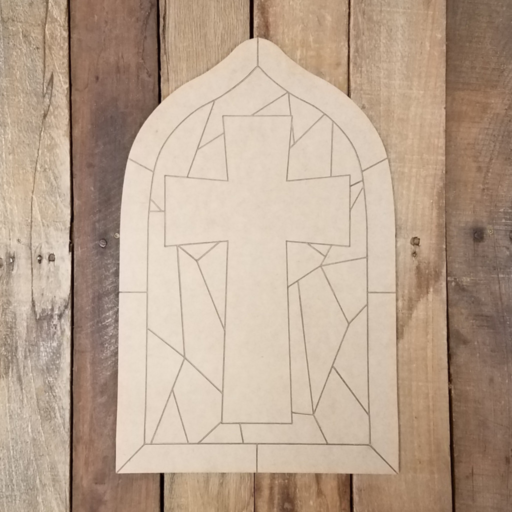 Cross Stained Glass Mosaic Wood Shape, Paint by Line