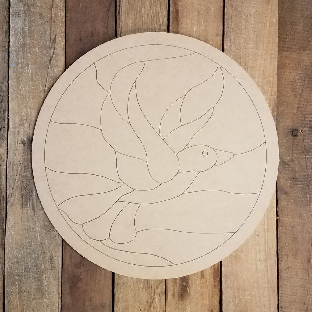 Dove Circle Stained Glass Mosaic Shape, Unfinished Paint by Line