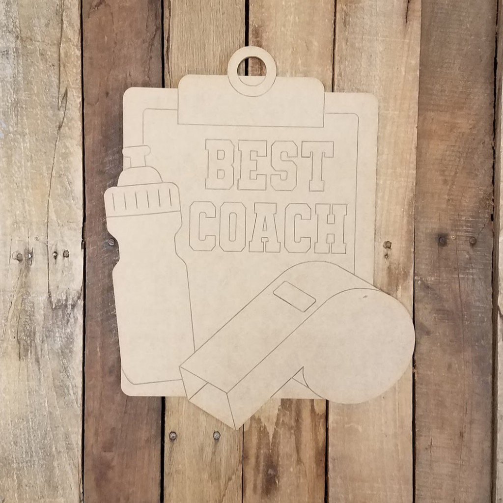 Best Coach Clipboard Cutout, Unfinished, Paint by Line