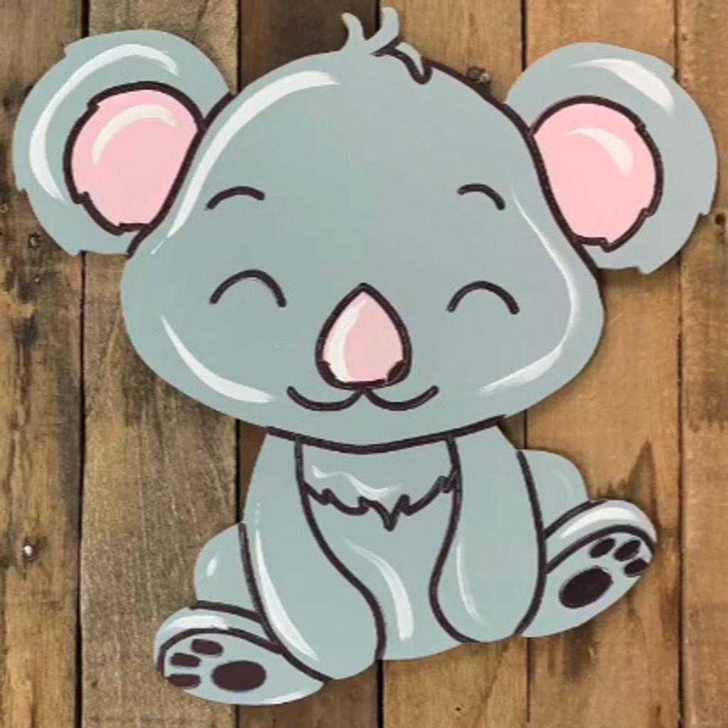 Cute Koala Bear Cutout, Unfinished Craft Shape, Paint by Line
