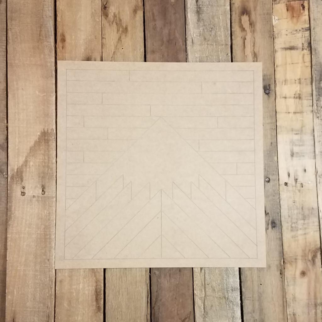 Geometric Art Mountain Wall Hanger, Unfinished Wood Shape