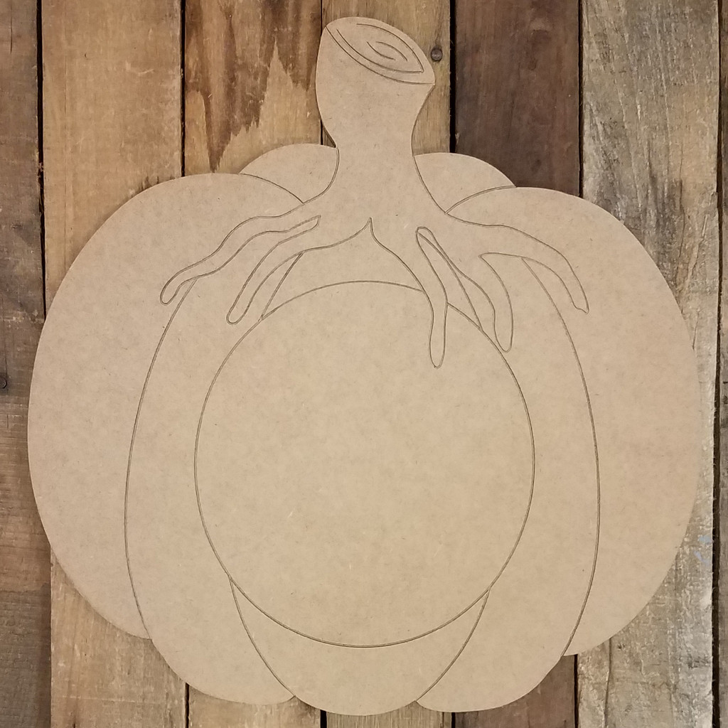 Fall Pumpkin With Stem Monogram Blank, Unfinished Shape, Paint by Line