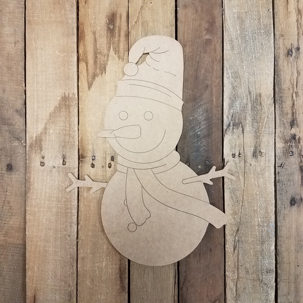Snowman With Cap and Scarf Unfinished Shape, Paint by Line