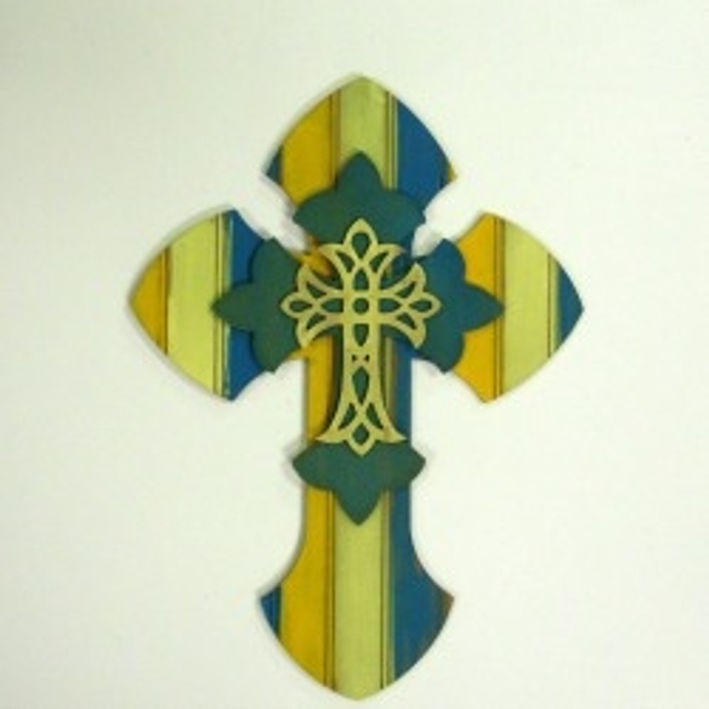 Wood Unfinished Cross Kit Layered Crosses 16'' Sets Paintable Craft