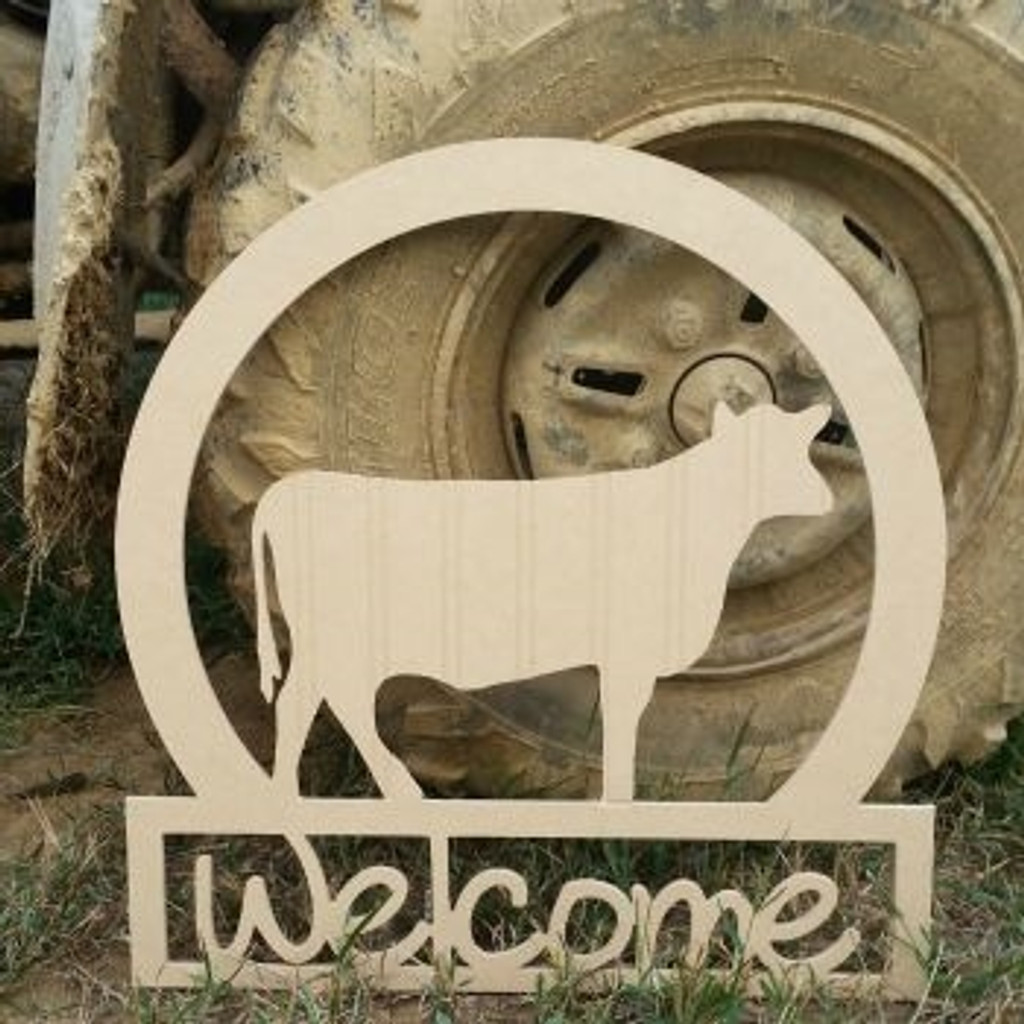Cow Sportsman Welcome Sign, Beadboard Unfinished  DIY Craft
