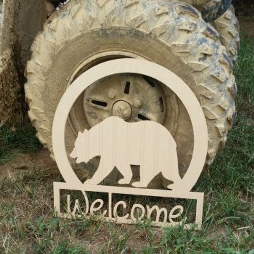Bear Sportsman Welcome Sign Beadboard Unfinished  DIY Craft