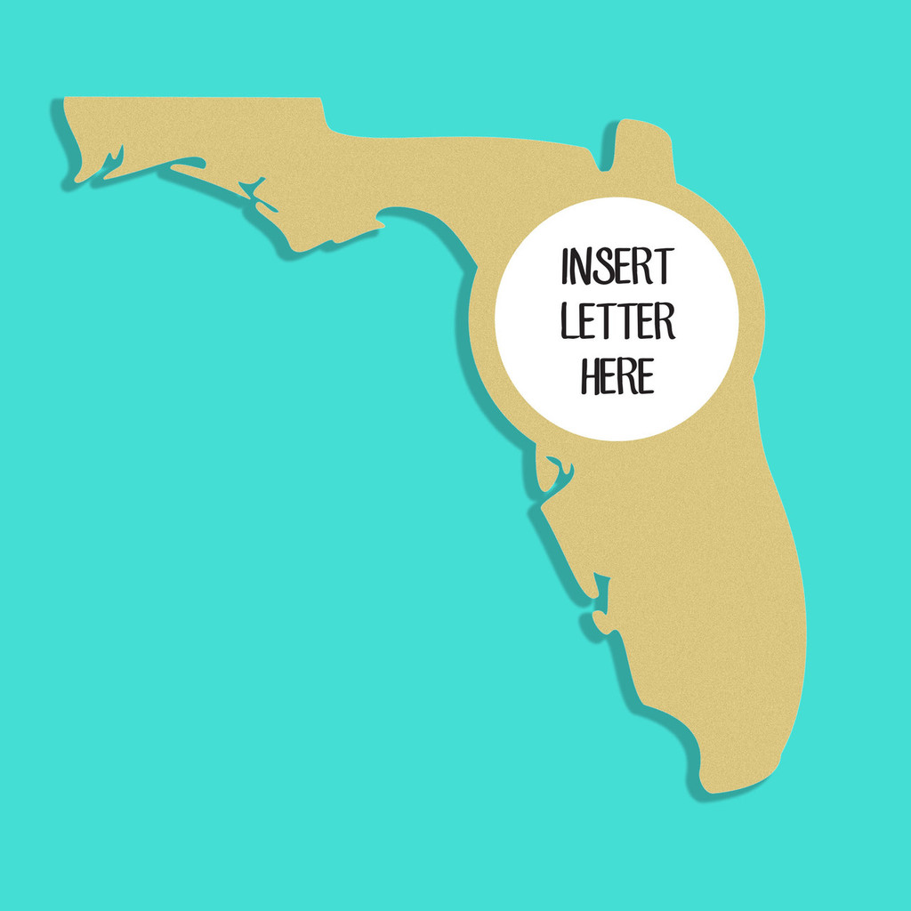 Florida Frame Letter Insert Wooden Monogram Unfinished DIY Craft