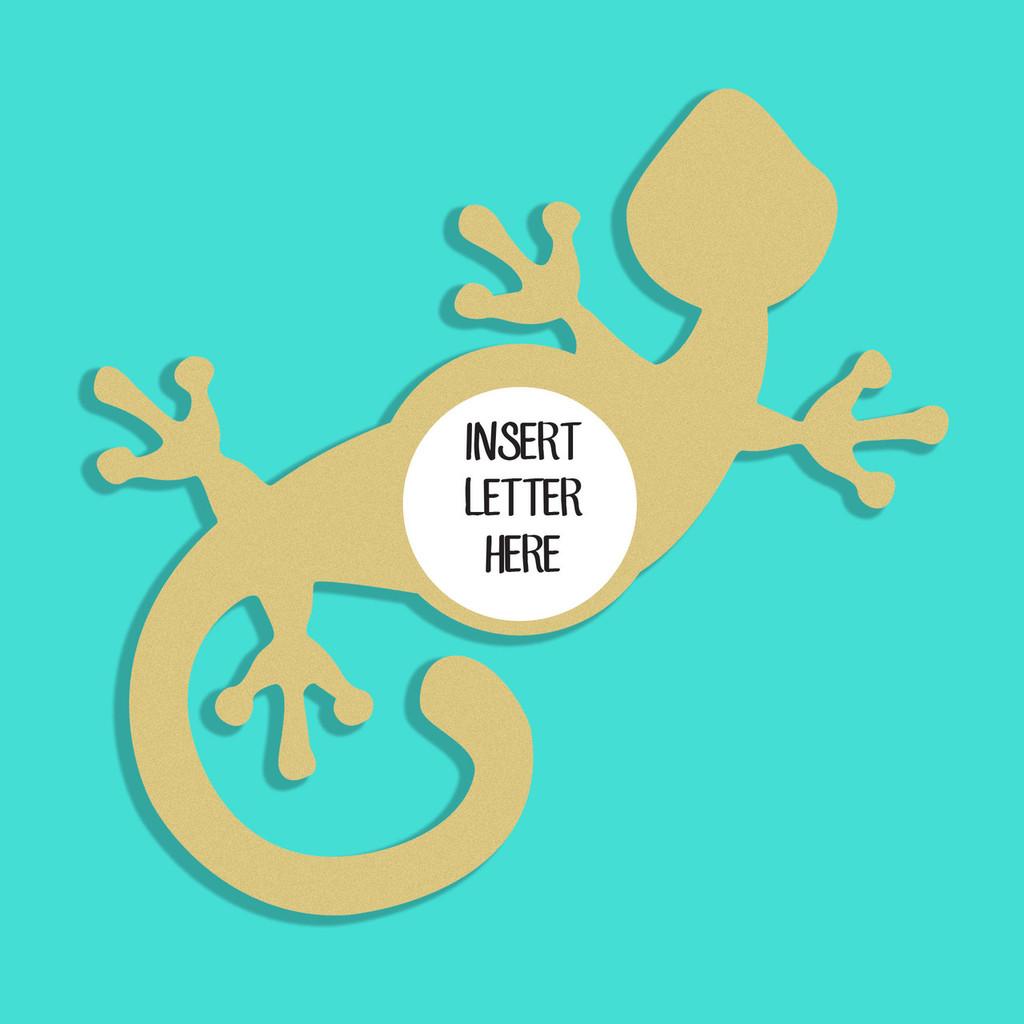 Gecko Frame Letter Insert Wooden Monogram Unfinished DIY Craft