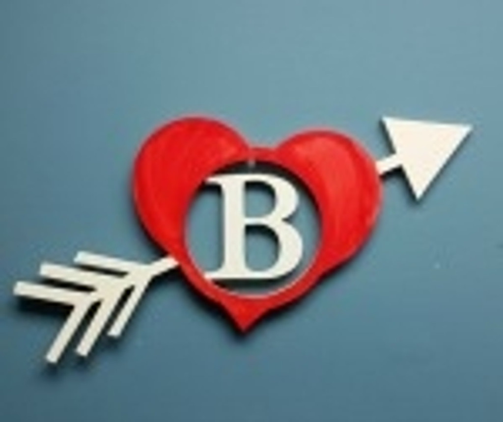 Heart & Arrow Frame Letter Insert Wooden Monogram Unfinished Craft