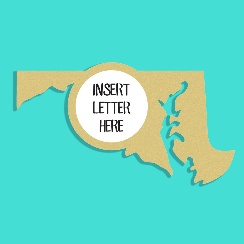 Maryland Frame Letter Insert Wooden Monogram Unfinished DIY Craft