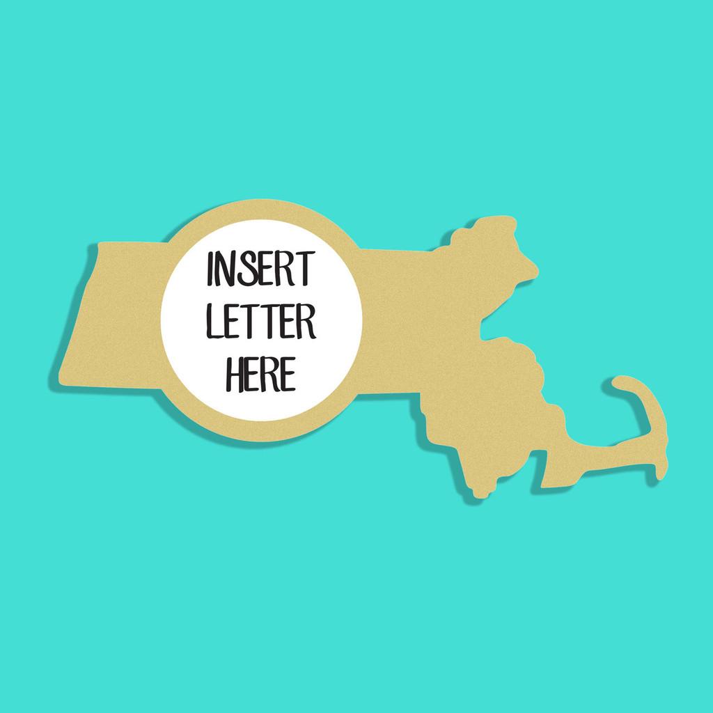 Massachusetts Frame Letter Insert Wooden Monogram Unfinished Craft