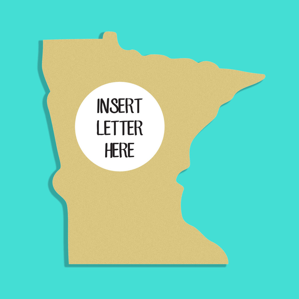 Minnesota Frame Letter Insert Wooden Monogram Unfinished DIY Craft
