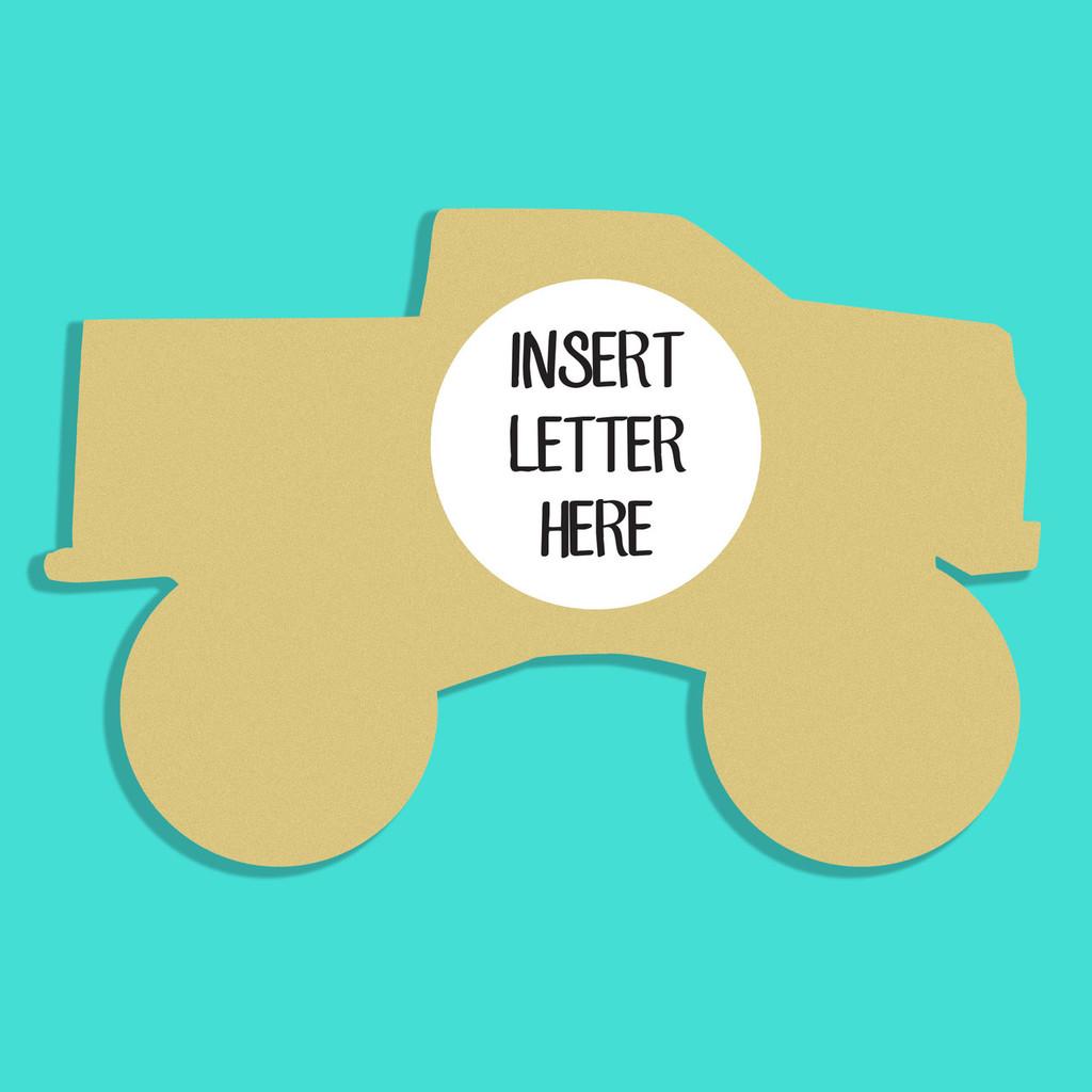 Monster Truck Frame Letter Insert Wooden Monogram Unfinished DIY