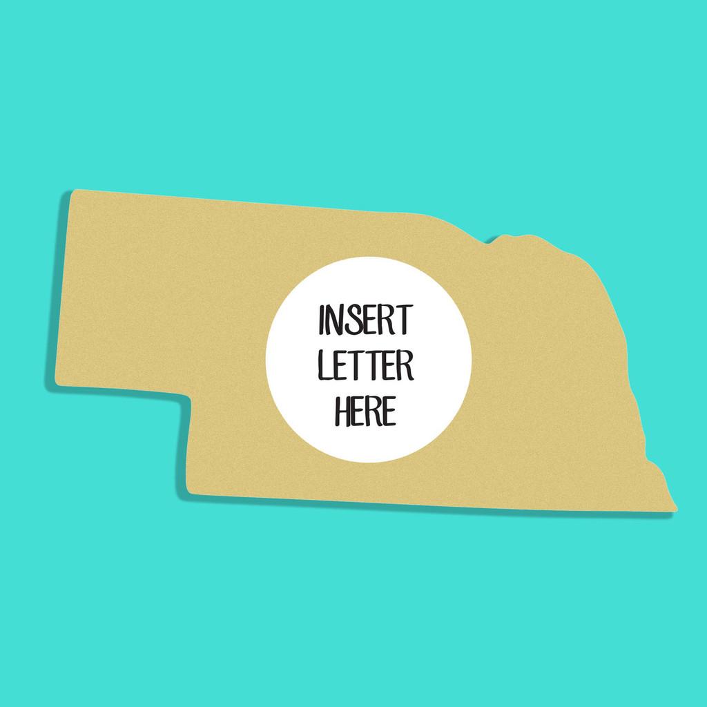 Nebraska Frame Letter Insert Wooden Monogram Unfinished DIY Craft
