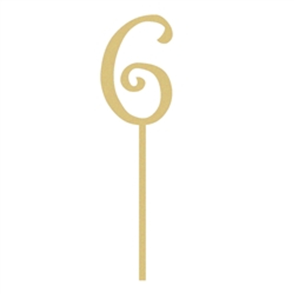 Curlz Number Cake topper With Stick Wooden Unfinished DIY Craft