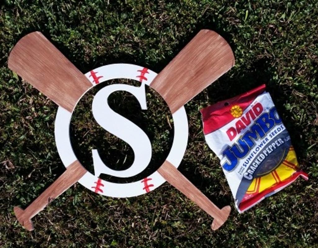 Baseball and Bats Framed Monogram  Letter,Frame Wooden - Unfinished