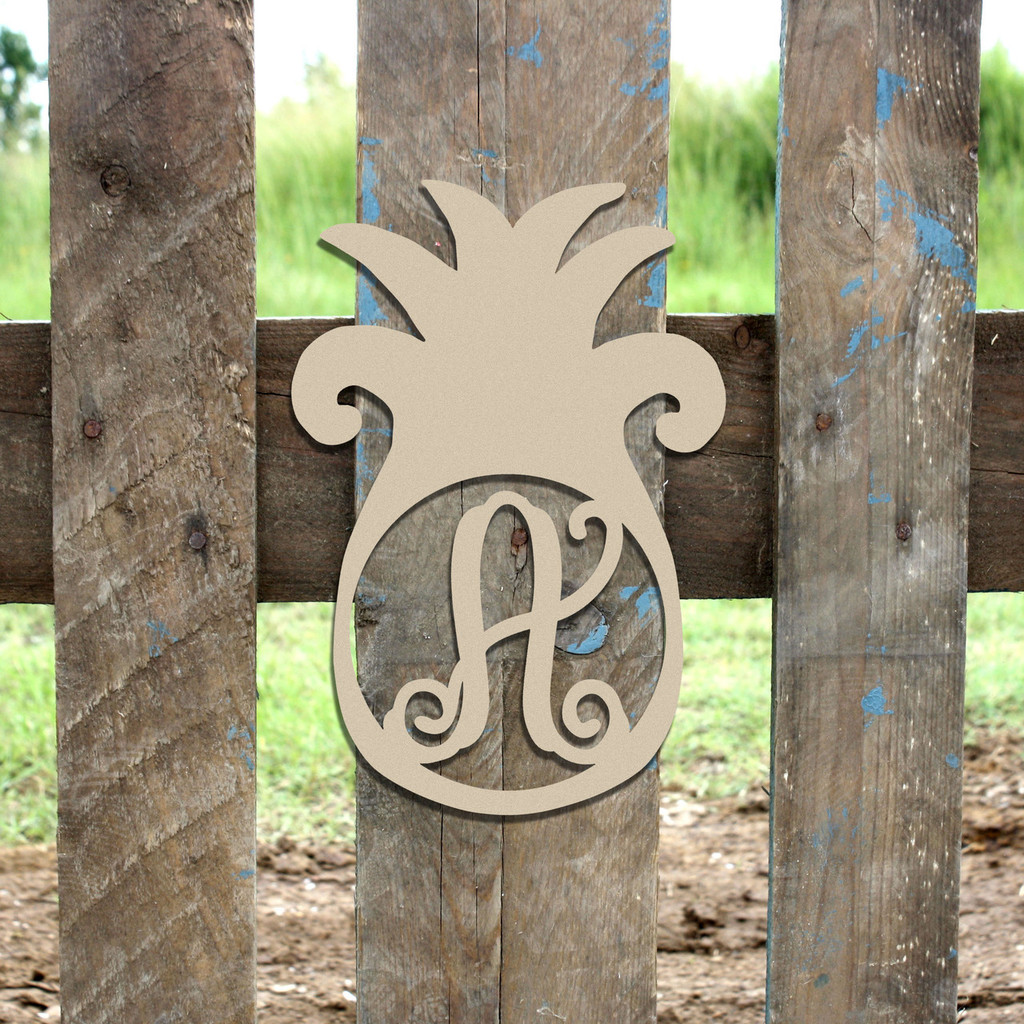 Pineapple Frame Monogram Letter Wooden Unfinished  DIY Craft