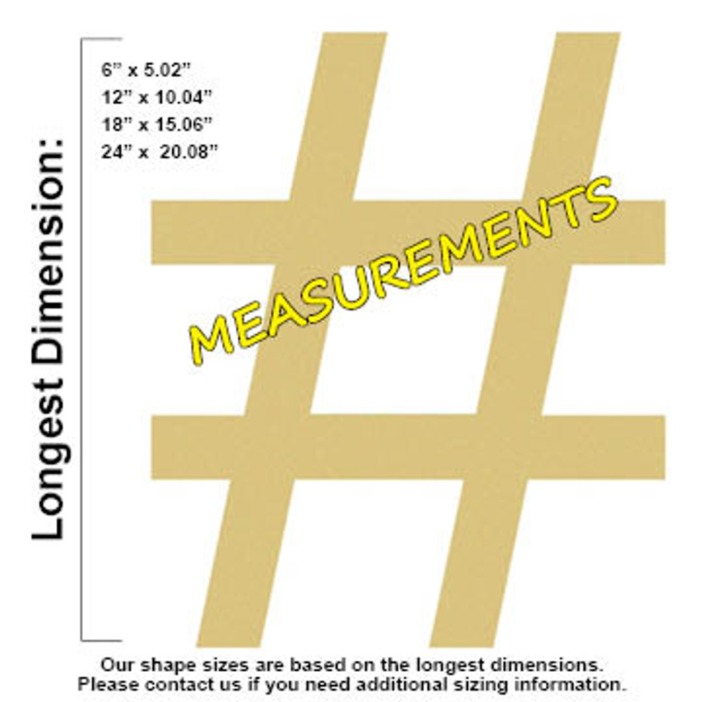 Hashtag Unfinished Cutout Wooden Shape Paintable Wooden Mdf