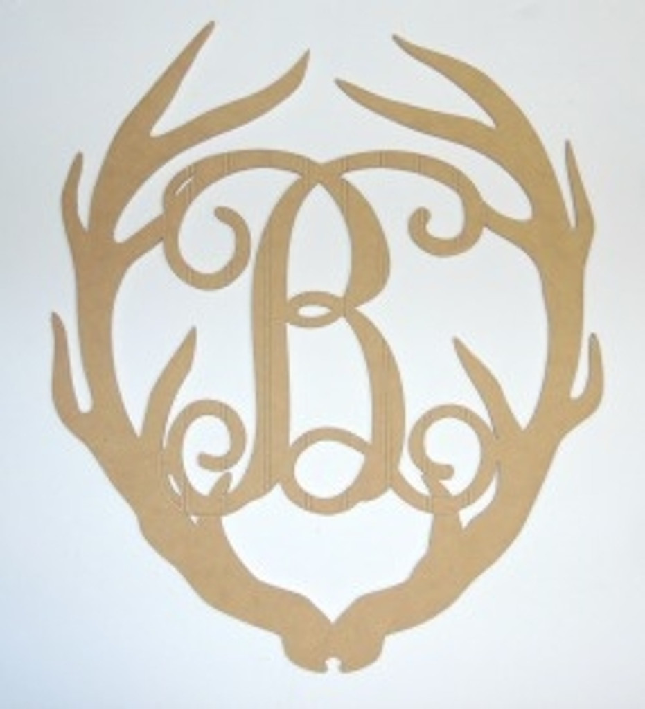 Wooden Antler Monogram Letter, Beadboard Unfinished  DIY Craft