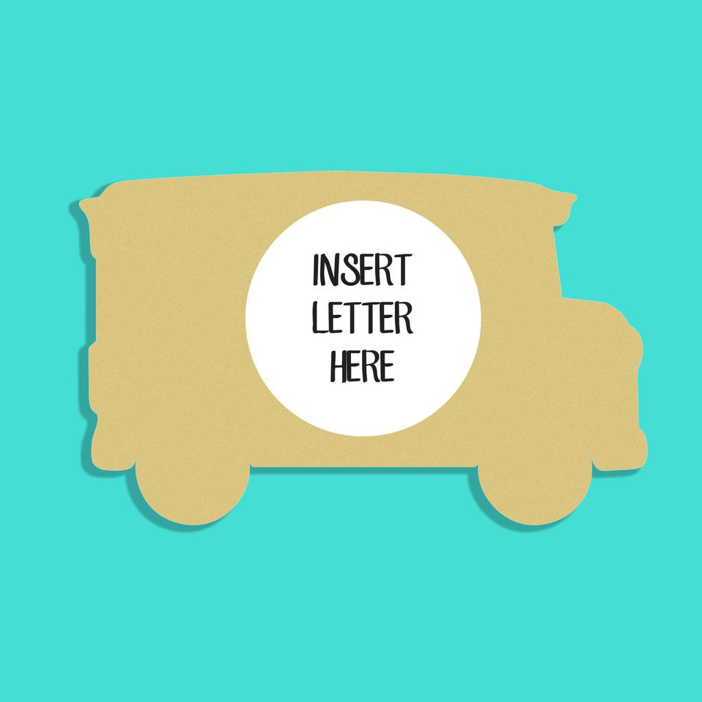 School Bus Frame Letter Insert Wooden Monogram Unfinished DIY Craft