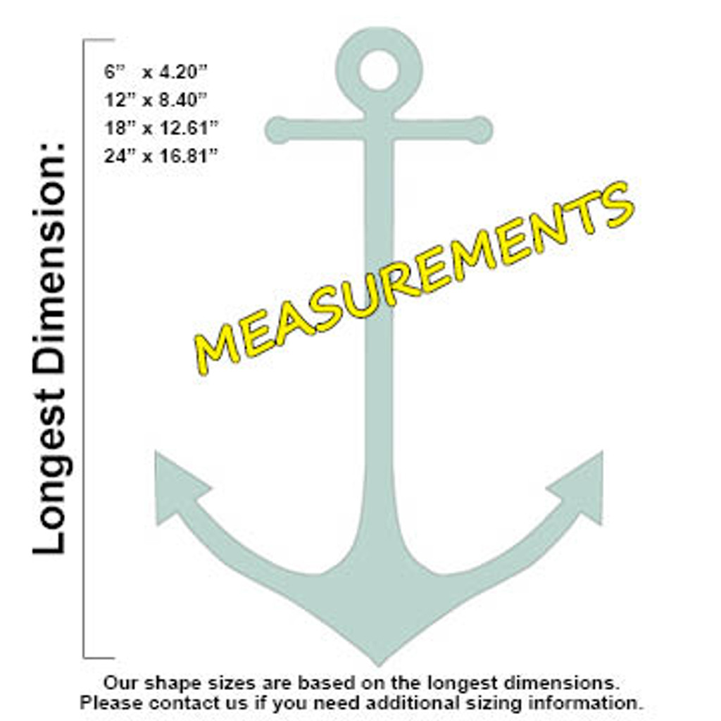 Skinny Anchor Unfinished Cutout Wooden Shape Paintable Wooden