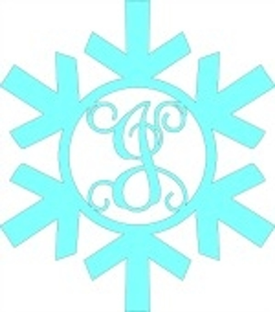 Snowflake Monogram Letter, Frame Wooden - Unfinished  DIY Craft
