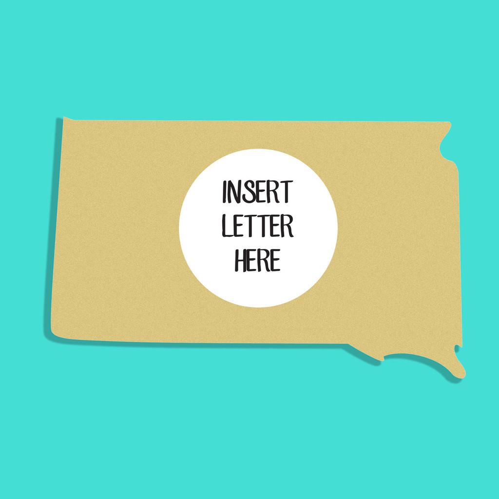 South Dakota Frame Letter Insert Wooden Monogram Unfinished DIY Craft
