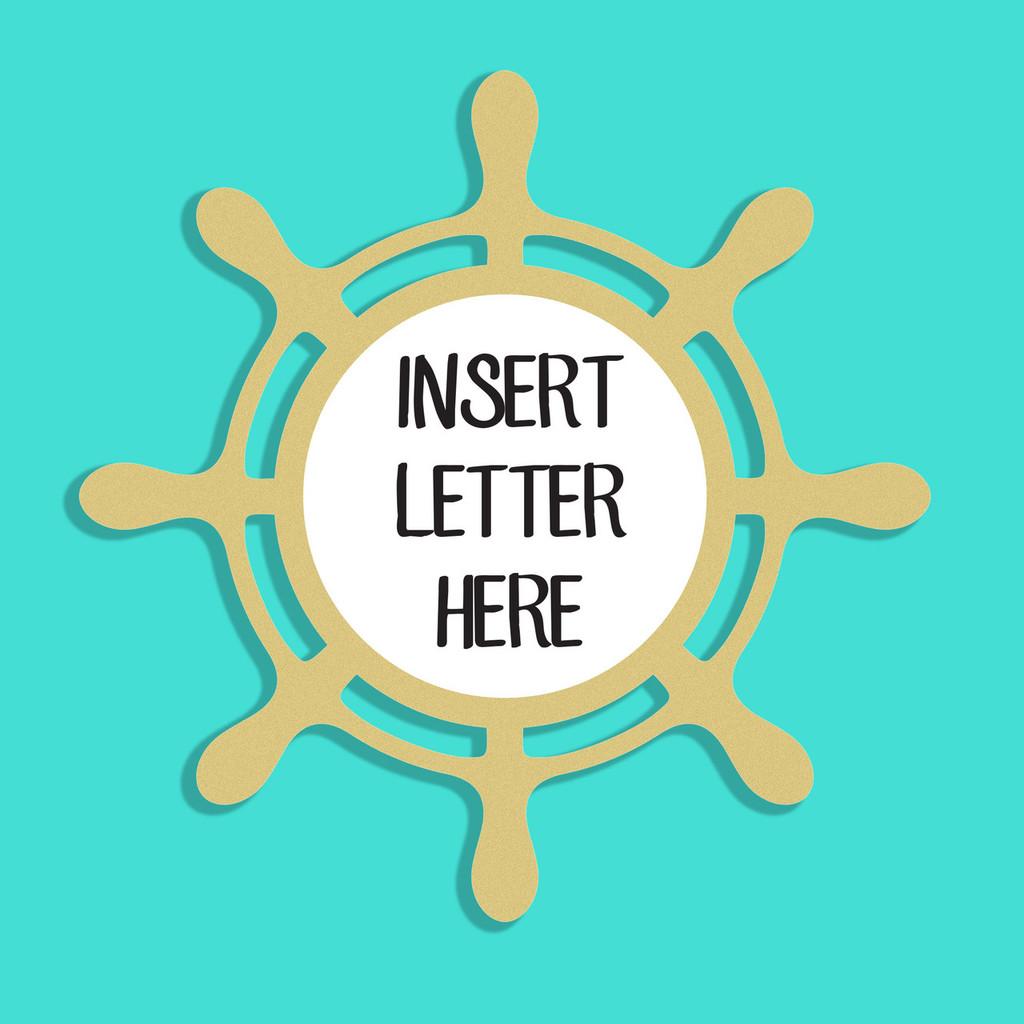 Ship Wheel Frame Letter Insert Wooden Monogram Unfinished DIY Craft