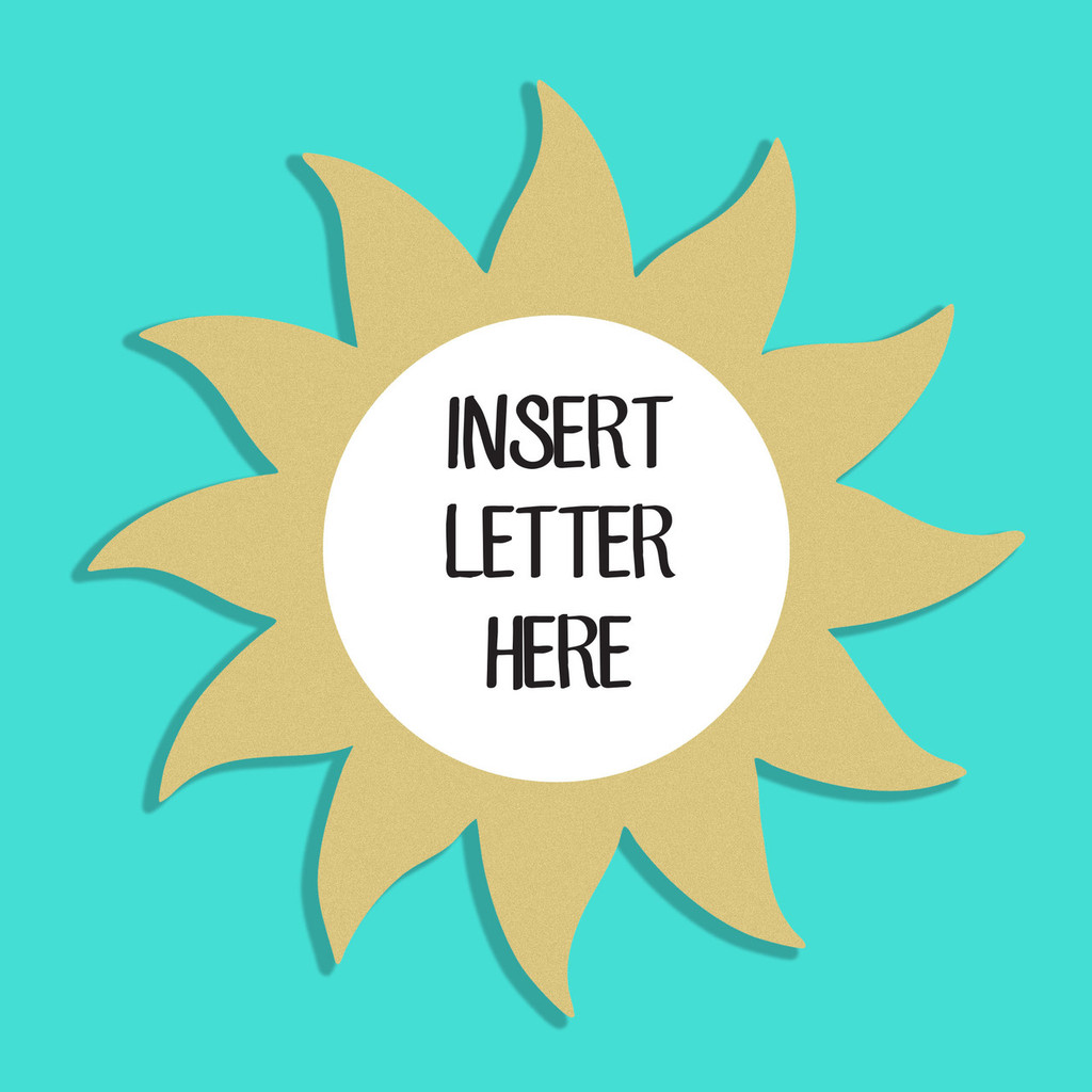 Sun Frame Letter Insert Wooden Monogram Unfinished DIY Craft