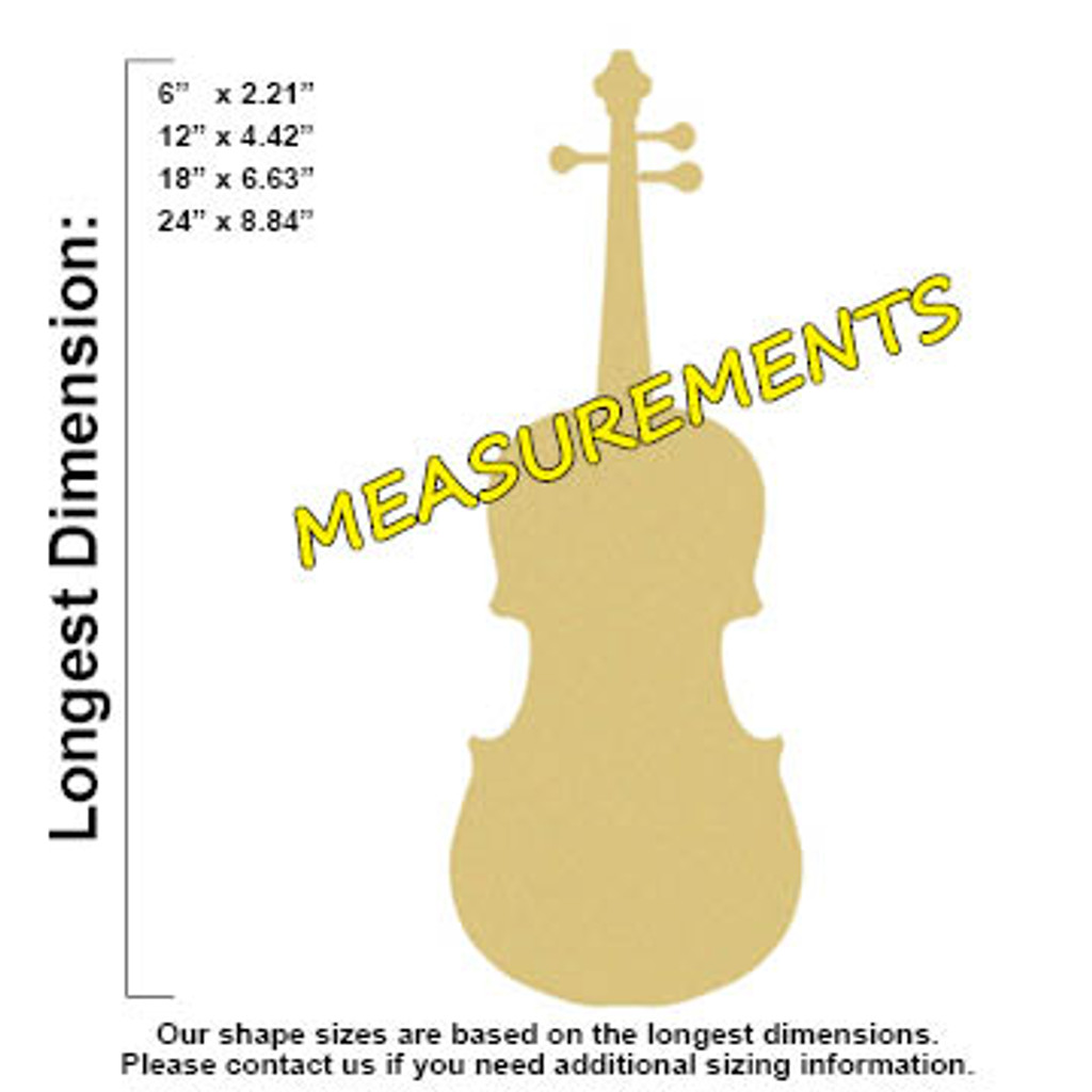 Violin Unfinished Cutout, Wooden Shape, Paintable Wooden MDF