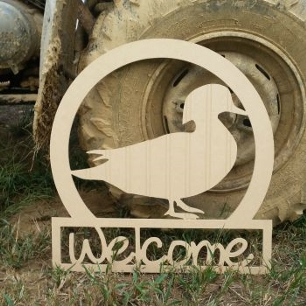 Wood Duck Sportsman Welcome Sign Beadboard Unfinished DIY Craft