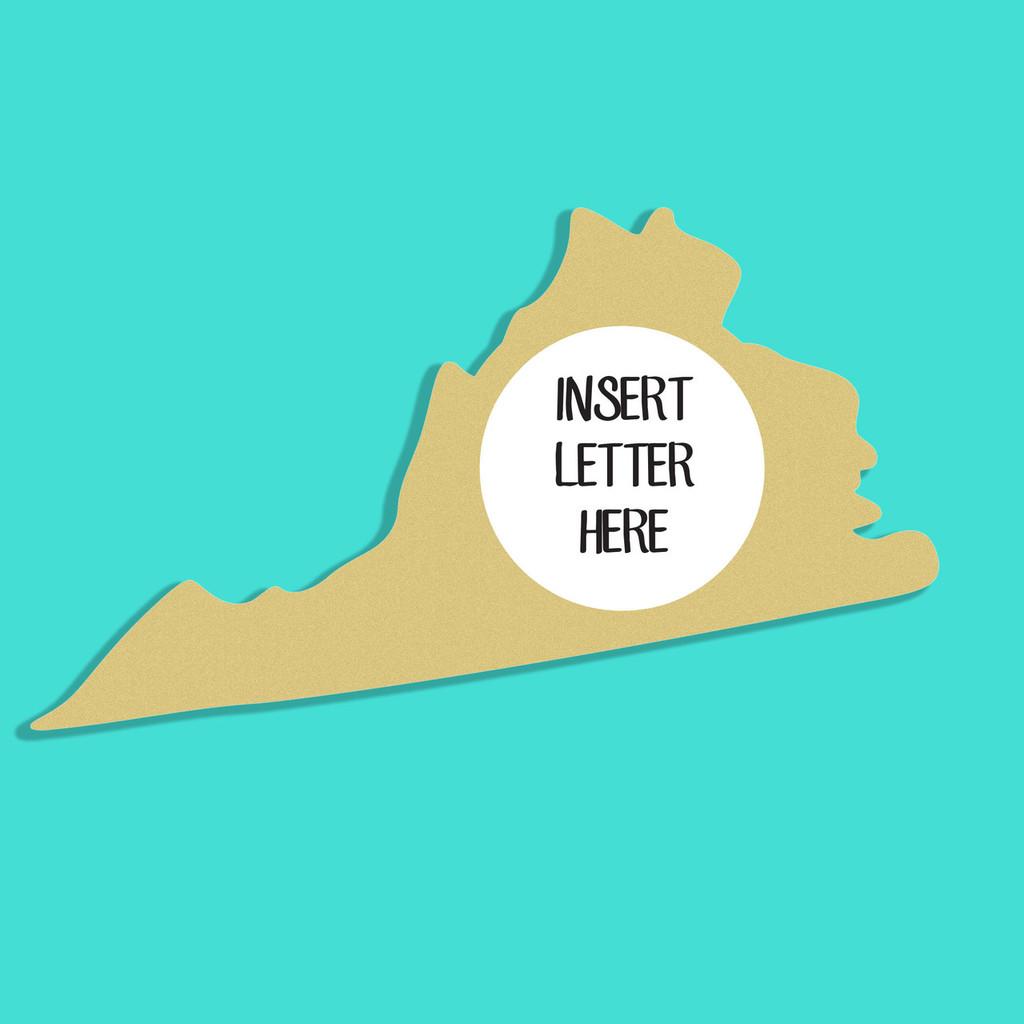 Virginia Frame Letter Insert Wooden Monogram Unfinished DIY Craft