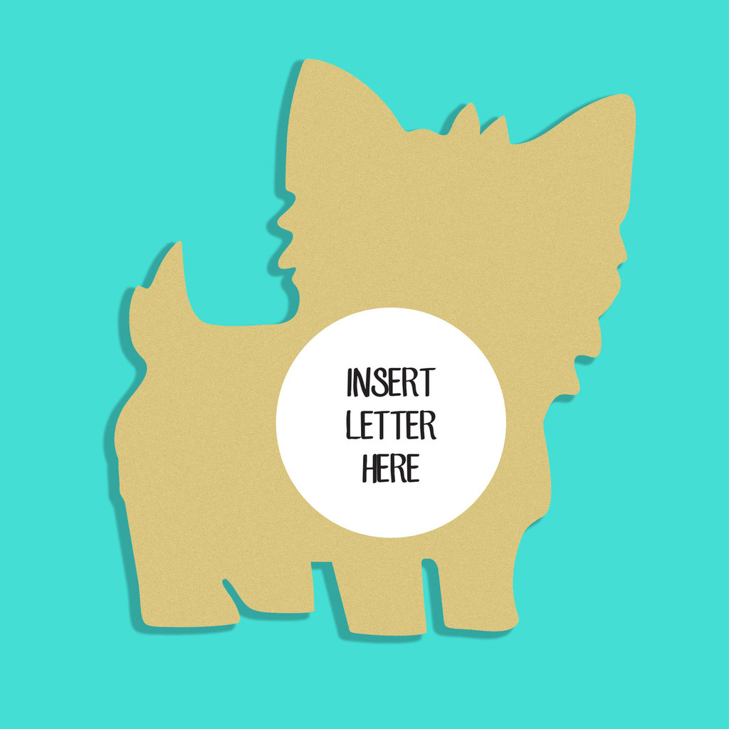 Yorkie Dog Frame Letter Insert Wooden Monogram - Unfinished  DIY Craft
