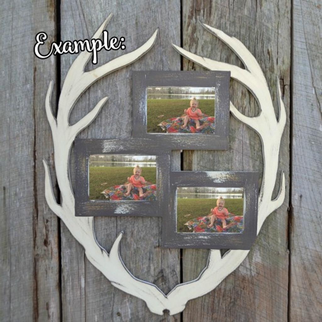 Unfinished Deer Antler Picture Frame Triple