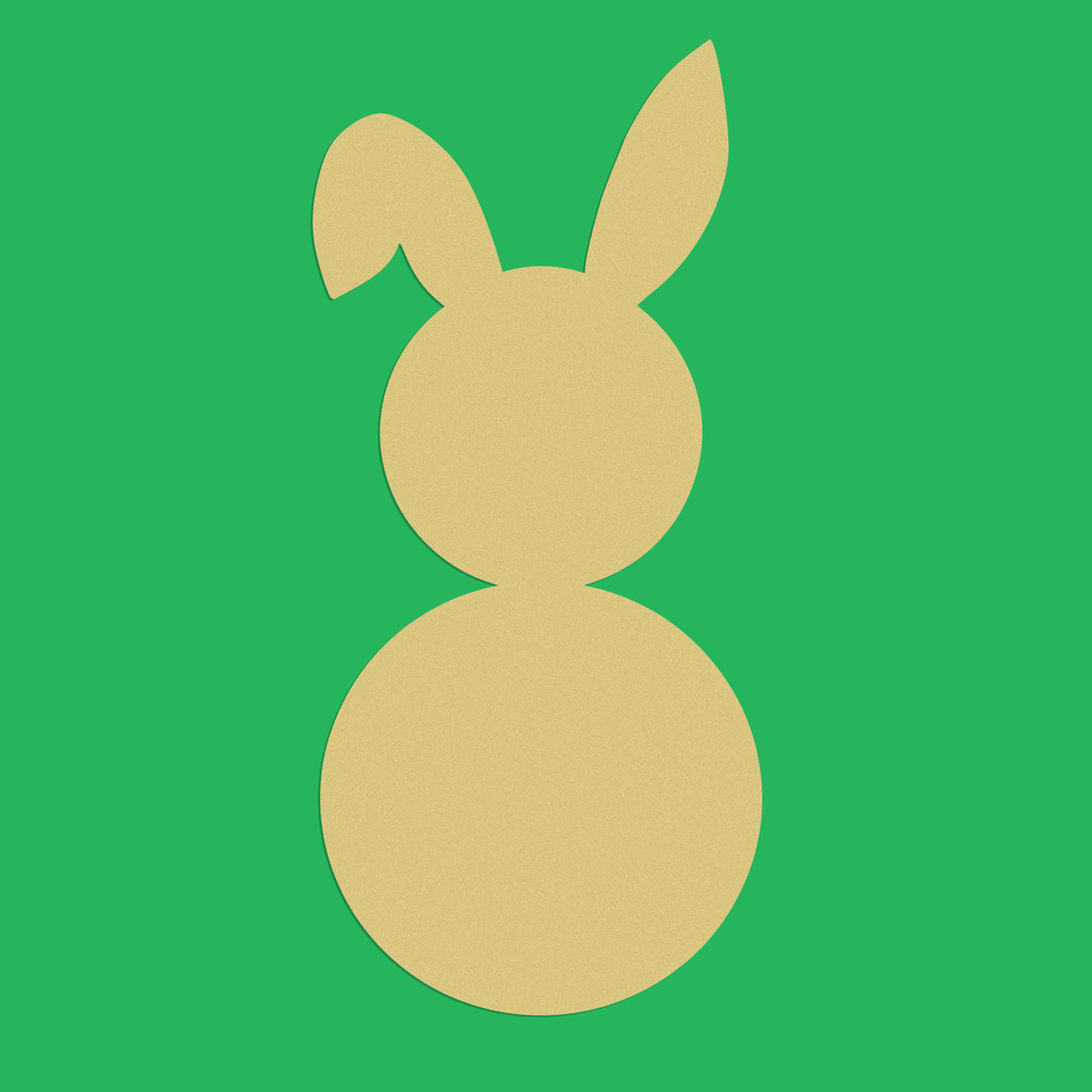 Bunny with ear Unfinished Cutout, Wooden Shape, Paintable Wooden MDF