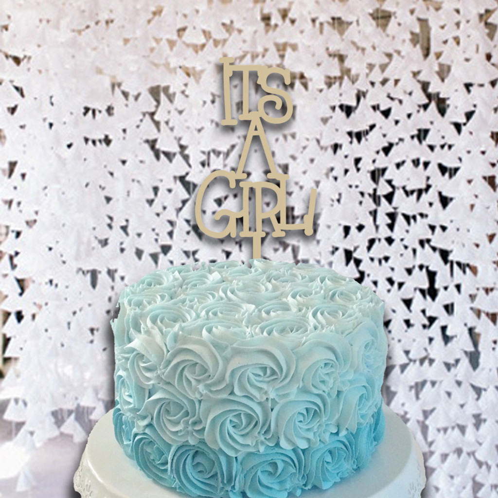 Cake Topper It's A Girl  Wooden Unfinished Uppercase Alphabet Letter
