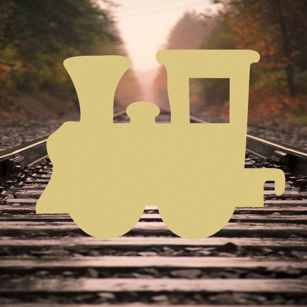 Train Engine Hook Down Unfinished Cutout Wooden Shape Paintable MDF Craft