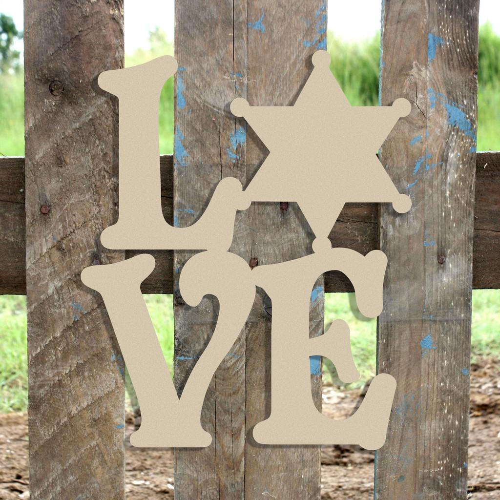 Love Sherriff Star Badge Sign Wall Art Wooden DIY Craft MDF