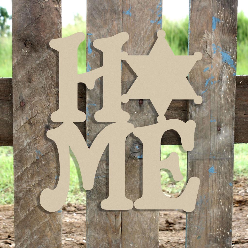 Home Sherriff Star Badge Sign Wall Art Wooden DIY Craft MDF