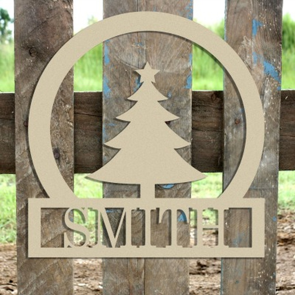Christmas Tree Frame Family Welcome Sign, Unfinished Framed Monogram